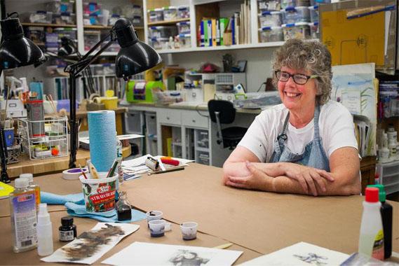 Adele Sanborn in her workshop