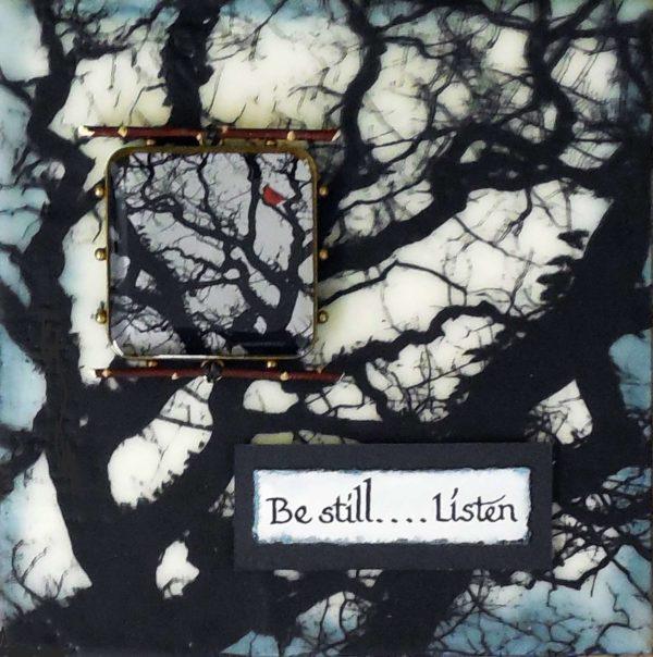 Be Still...Listen encaustic